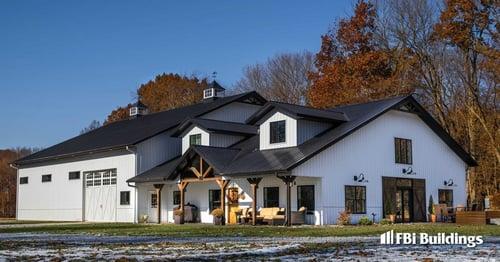 Pole Barn Home with Basketball_Barndominium_Max-Rib_Regal White Wall_Matte Black Roof_Exterior