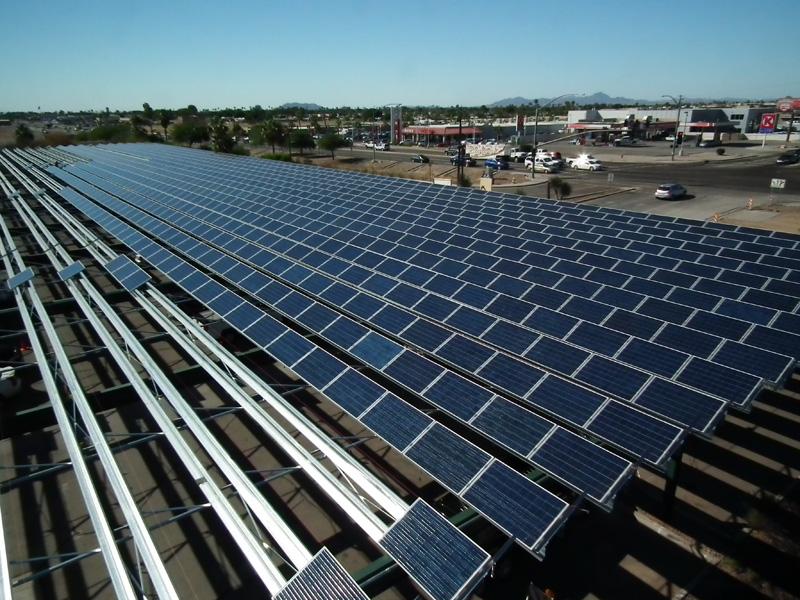 Yuma Airport Solar Panels on Metal Roofs