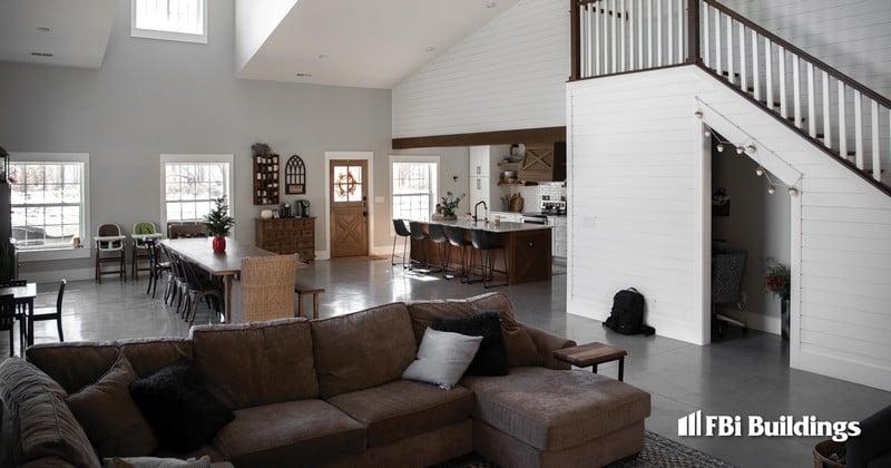 Pole Barn Home with Basketball_Barndominium_Max-Rib_Regal White Wall_Matte Black Roof_Interior 1