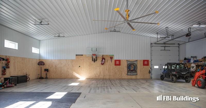 Pole Barn Home with Basketball_Barndominium_Max-Rib_Regal White Wall_Matte Black Roof_Interior 2
